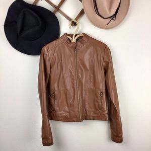 George Brown Faux Leather Bomber Jacket Small